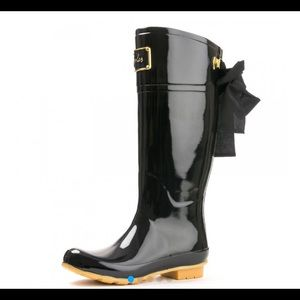 Brand New Joules Evedon Rainboots Black/Gold Bow